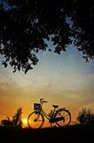 在日落的自行车 库存照片
