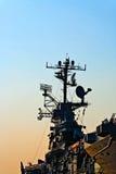 在日落的航空母舰 图库摄影
