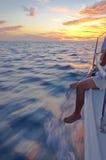 在日落的航行天 免版税库存照片