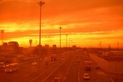 在日落的莫斯科高速公路 库存图片