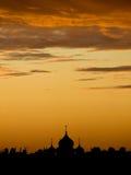 在日落的莫斯科 免版税库存照片