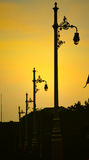 在日落的街灯 库存图片