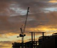 在日落的起重机 免版税库存照片