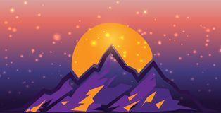在日落的超现实的山scape与火光和光 平的设计传染媒介例证 紫色和桔子 库存图片
