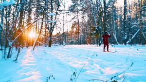 在日落的速度滑雪 影视素材