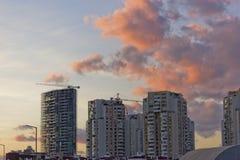 在日落的都市风景 库存照片