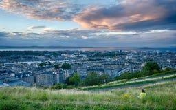 在日落的都市风景 免版税库存照片