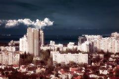 在日落的都市风景 图库摄影
