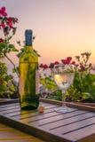 在日落的酒 免版税图库摄影
