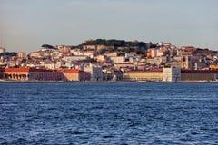 在日落的里斯本地平线城市在葡萄牙 库存照片