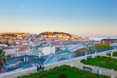 在日落的里斯本地平线 葡萄牙 免版税库存图片