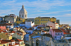 在日落的里斯本都市风景 免版税图库摄影