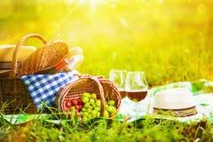 在日落的野餐 库存图片