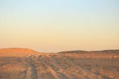 在日落的金黄沙漠沙子 在天际的梯度 库存照片