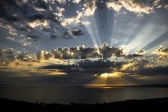 在日落的阳光 库存照片