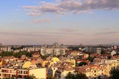 在日落的风景在普罗夫迪夫,保加利亚 免版税库存图片