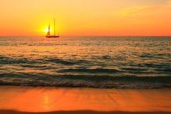 在日落的风船 库存照片