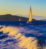 在日落的风船 图库摄影