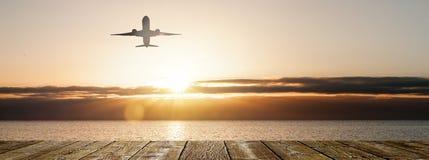 在日落的飞行 库存图片