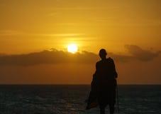 在日落的马塞语 免版税库存照片