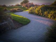 绕在日落的鹅卵石道路 免版税图库摄影