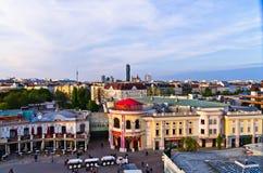 在日落的维也纳都市风景,从一个巨型轮子的一个看法在Prater 免版税库存图片