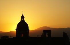 在日落的巴勒莫视图 免版税库存图片