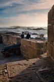 在日落的索维拉垒,摩洛哥的大西洋海岸 库存照片