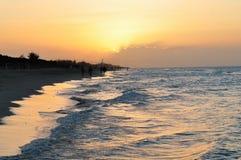 在日落的巴拉德罗角海滩 库存照片