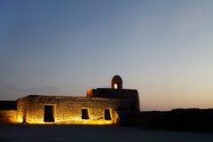 在日落的巴林堡垒 图库摄影