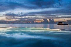 在日落的水池 免版税库存照片