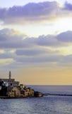 在日落的贾法角口岸 免版税库存图片