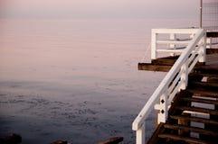 在日落的索波特码头 免版税库存照片