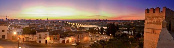 在日落的巴达霍斯全景 免版税库存图片
