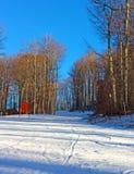 在日落的滑雪轨道 库存照片