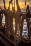在日落的绳索 库存图片