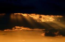 在日落的2座山没有 图库摄影
