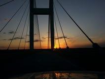 在日落的Audubon桥梁 免版税库存图片