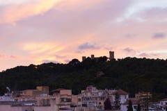 在日落的Bellver城堡 帕尔马,马略卡 免版税库存图片