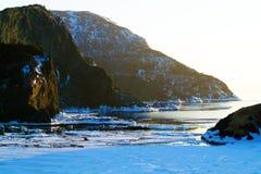 在日落的Bottlle小海湾 免版税图库摄影