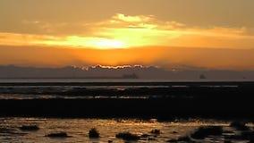 在日落的Cleethorpes海滩 库存图片