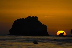 在日落的corfu 库存图片
