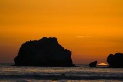在日落的corfu 图库摄影