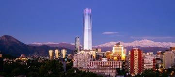 在日落的Costanera中心在圣地亚哥,智利 库存照片