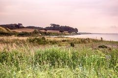 在日落的Dageløkke海滩 库存图片