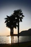 在日落的garda湖 库存照片