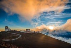 在日落的Haleakala火山口,在Haleakala国家公园,毛伊, Ha 免版税库存照片