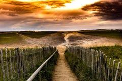 在日落的Holkham海滩 库存照片