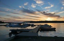 在日落的ivanhoe湖 库存照片