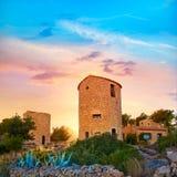 在日落的Javea Xabia el molins在阿利坎特 免版税库存图片